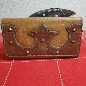 America West Cowgirl studded leather wallet